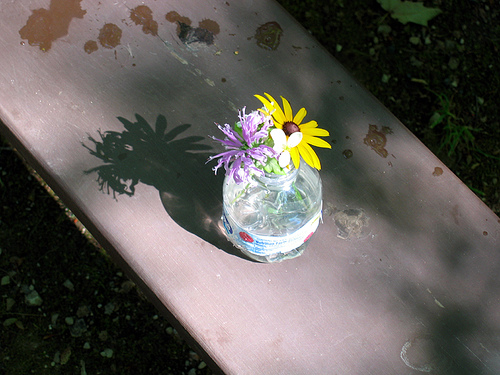 home-made vase with wildflowers